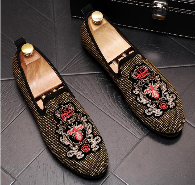 Handmade Gold Rhinestone embroidery bees Men's Suede Loafers Wedding Party Men Shoes Luxury Noble Elegant Dress Shoes for Men 3