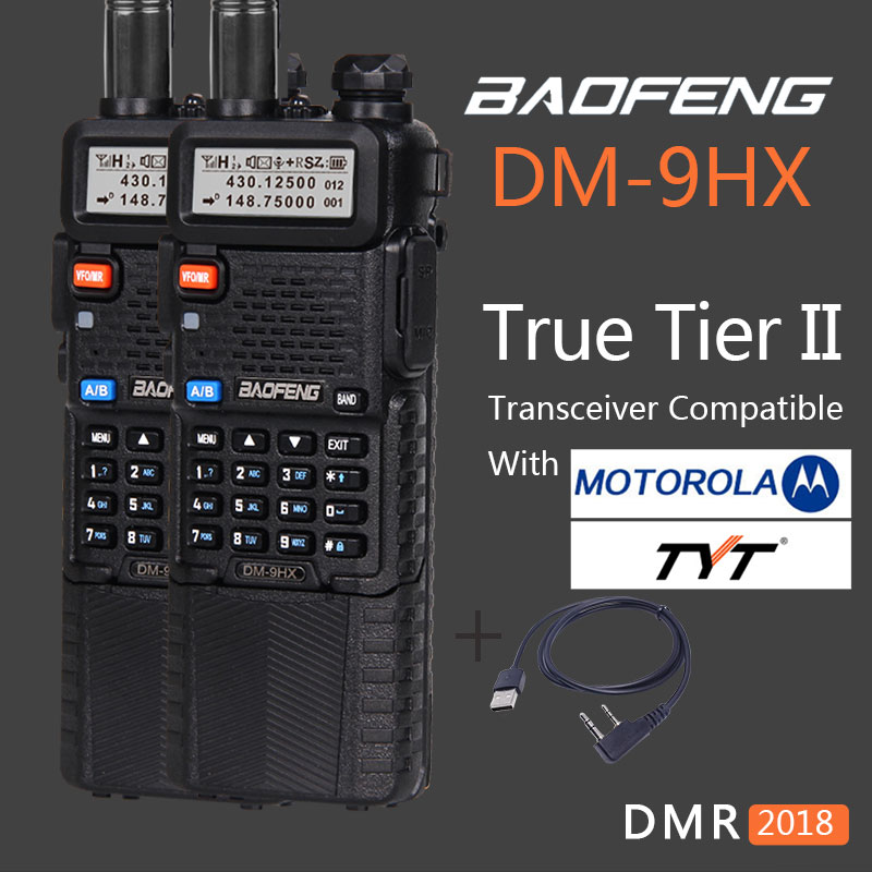 2 pcs BAOFENG VHF UHF Double Bande Numérique Talkie Walkie Niveau II DM-9HX Sœur Jambon Radio Baofeng UV-9R UV 9R UV-XR GM328 T1 + Câble