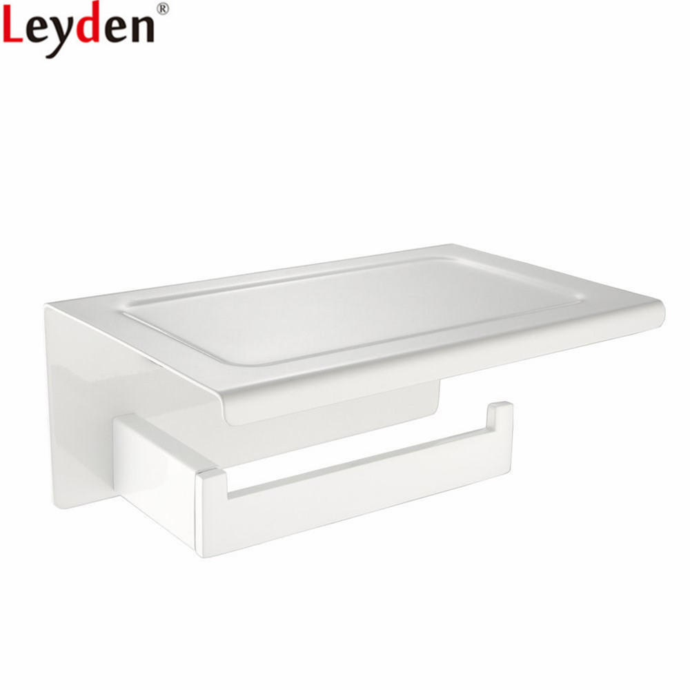 Leyden Toilet Paper Holder White Stainless Steel Wall Mounted Tissue Holder Roll Paper Holder For Bathroom Accessories everso wall mounted toilet paper holder with shelf stainless steel toilet roll paper holder tissue holder bathroom accessories