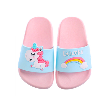 Kids Girls Boys Summer Slippers Children Flip Flops Barefoot Slipper Child Cartoon Unicorn Beach Shoes Swimming For Baby