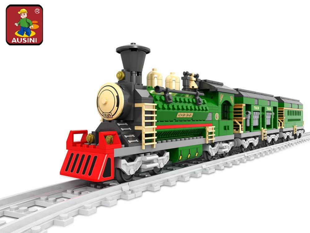 AUSINI New Train building blocks assembled plastic Retro train Track Bricks blocks 666 pcs children's educational toys 25904