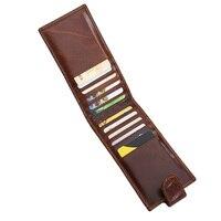Men's Genuine Leather Card Holder Slim Bank Credit Card Case 2017 New Vintage Brown ID Business Card Bag Thin 12 Card Slot Hasp