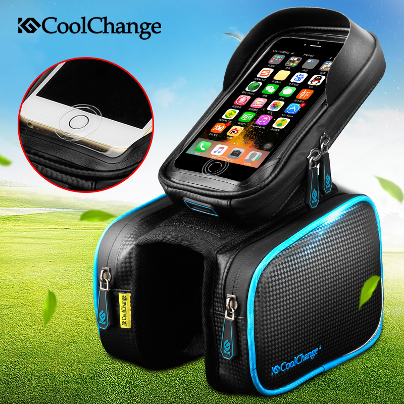 CoolChange Bicycle Frame Front Head Top Tube Waterproof Bike Bag&Double IPouch Cycling For 6.0 in Cell Phone Bike Accessories roswheel mtb road bike bag touchscreen bicycle saddle bag for 5 5 7 phone cycling front frame tube bag bicycle accessories