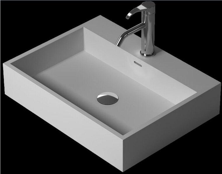 Salle de bain Rectangulaire Dessus Du comptoir Navire évier Vestiaire Solide Surface Résine Vanité Lavabo XRS38343