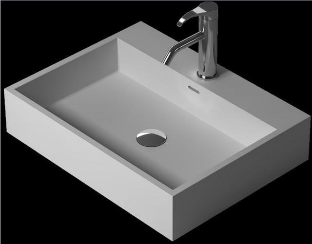 salle de bain rectangulaire dessus du comptoir navire evier vestiaire solide surface resine vanite lavabo xrs38343