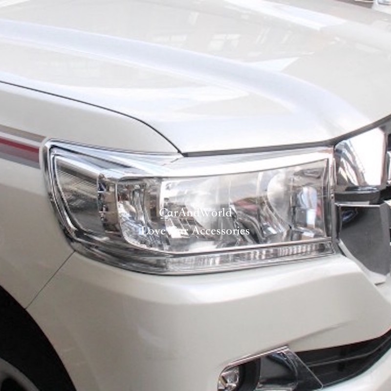 Accessories For 2008 to 2016 Toyota Land Cruiser 200 V8 HeadLights Cover Trim Front Head lights Lamp Chrome Stickers Car-Styling