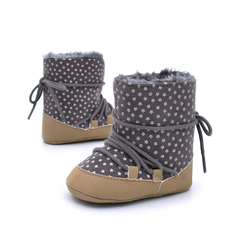 Super Warm Infant Soft Bottom Snow Stars Boots Lace Up Baby Boys Girls Moccasins Shoes Baby Prewalker Boots Anti-slip Shoes