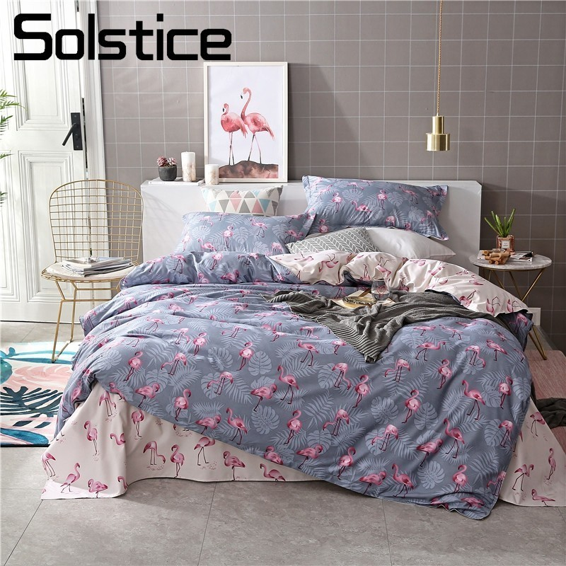 Solstice Home Textile Flamingo Gray Bedding Set Kid Teen Boy Girl Linen Duvet Quilt Cover Pillowcase Bed Sheet King Queen 3/4Pcs