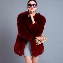 S-4XL теплая зимняя Роскошная Шуба из искусственного лисьего меха, тонкая длинная розовая красная синяя куртка из искусственного меха, женские пальто из искусственного меха