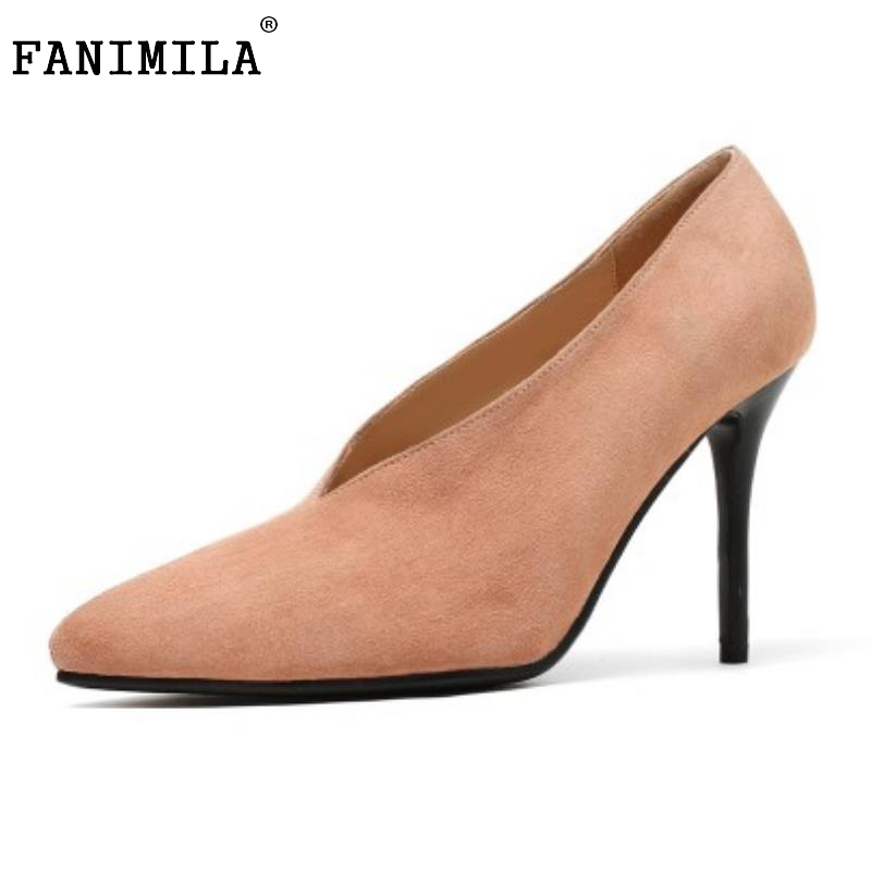 Women 'S Geniune Leather High Heels Shoes Women Pointed Toe Pure Color High Heeled Pumps Office Lady Sexy Footwear Size 33-40 women s geniune leather high heels shoes women pointed toe pure color high heeled pumps office lady sexy footwear size 33 40