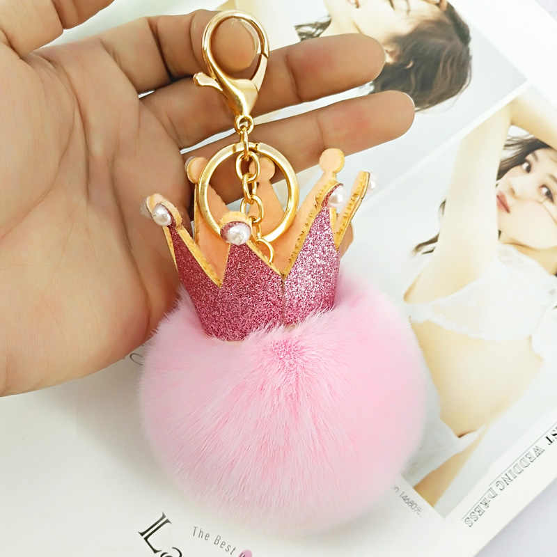 Cute Sequins Crown Pompom Key Chains Handmade Puffy Ball Keyring Bag Pendants Decoration Jewelry Charms Keychain Kids Toys Gift