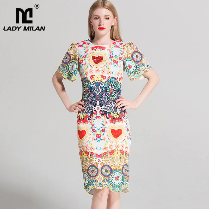 Lady Milan 2018 Womens O Neck Short Sleeves Floral Printed Beaded High Street Fashion Short Dresses