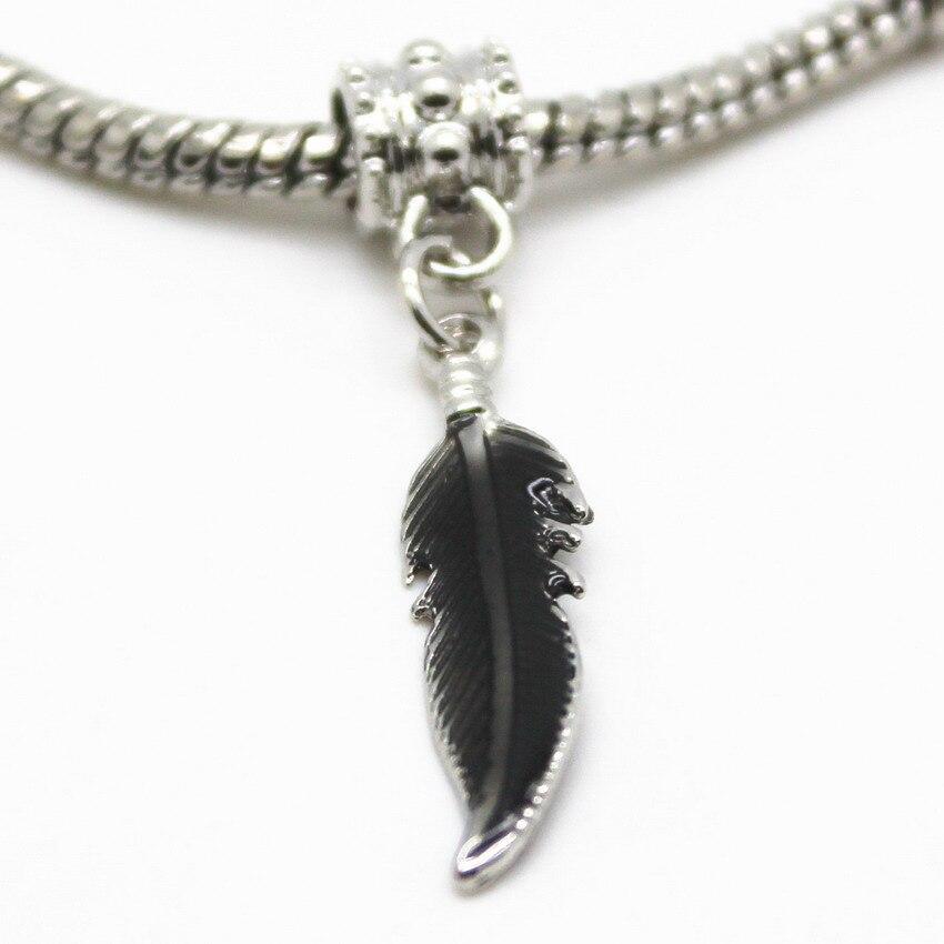 9980e1e09 عالية الجودة الفضة مطلي الأسود الريشة الخرزة سحر مع الفضة مطلي الخرز صالح  النساء Diy باندورا أساور و أساور