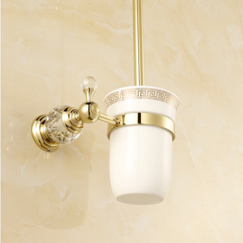 Europe style wall mounted brass crystal toilet brush - Wall mounted ceramic bathroom accessories ...