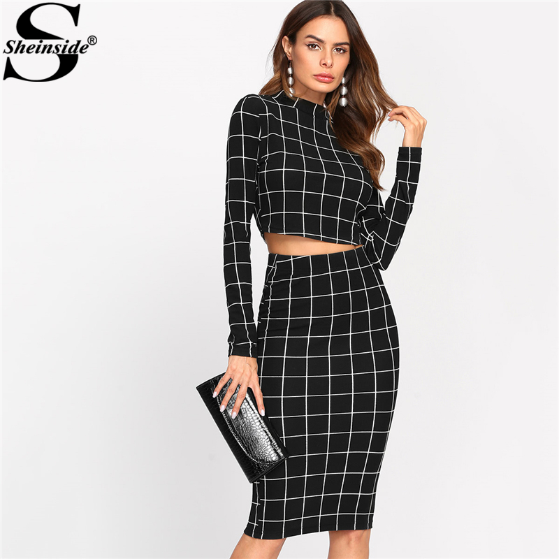 Stand Collar Long Sleeve 2 Piece Set Women Crop Grid Top & Pencil Skirt Ladies Elegant OL Style Two piece