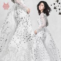 White with black swallows bird print 100% silk chiffon fabric for dress pure silk fabric 8mm silk tissue tela for sewing SP4781