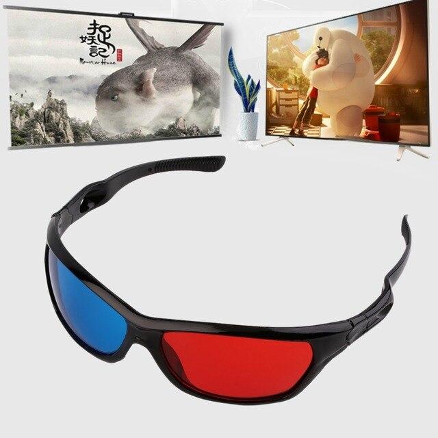 2017 Mới Phổ 3D Nhựa Kính Khung Màu Đen Màu Đỏ Màu Xanh 3D Visoin Kính Đối Dimensional Anaglyph Movie Game DVD Video TV