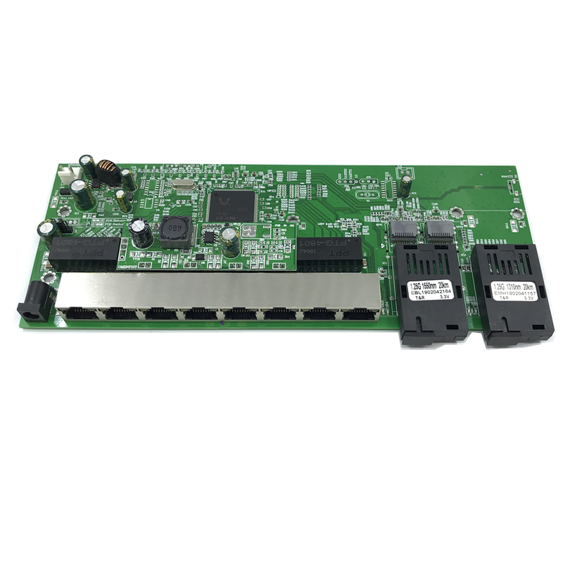 Reverse PoE 10/100/1000M Gigabit Ethernet switch  Fiber Optical Single Mode 8 RJ45 and 2 SC fiber Motherboard1.25G 20KM
