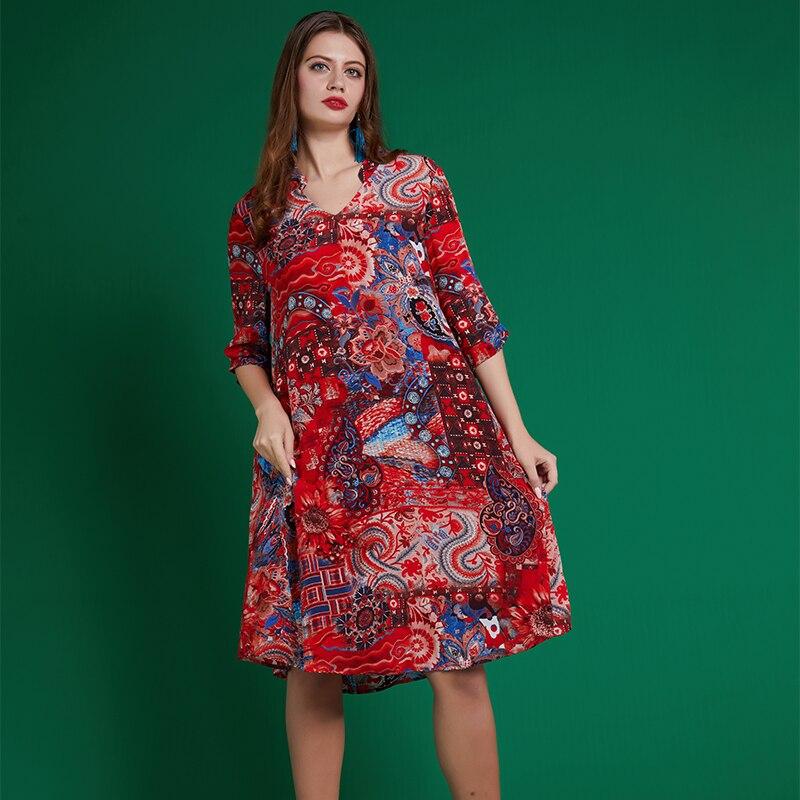 Rétro De Caractère Imprimer Nouvelle Cchun2019 Femelle Robe Lâche Printemps Multi Soie n0kOwP