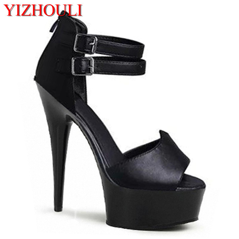 Sexy double fermoir avec 15 cm super talons hauts sandales fines avec mariée noire modèles de chaussures de mariage