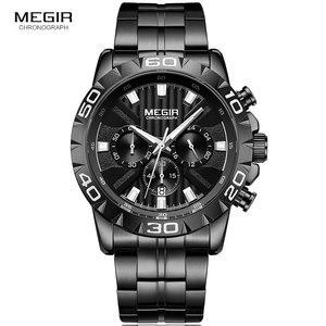 Image 2 - MEGIR montre daffaires à Quartz pour hommes, en acier inoxydable, chronographe étanche lumineux, horloge noire, 2087