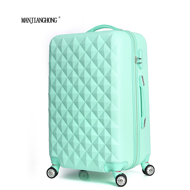 "20"" High quality Diamond lines Trolley suitcase /travell case luggage/Pull Rod trunk rolling spinner wheels/ ABS+PC boarding bag"