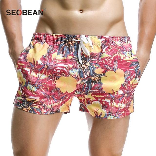 2018 лето бренд Для мужчин цветок доска Пляжные шорты мужские спортивные брюки Slim бермуды Masculina Для мужчин короткие плавки быстрое высыхание