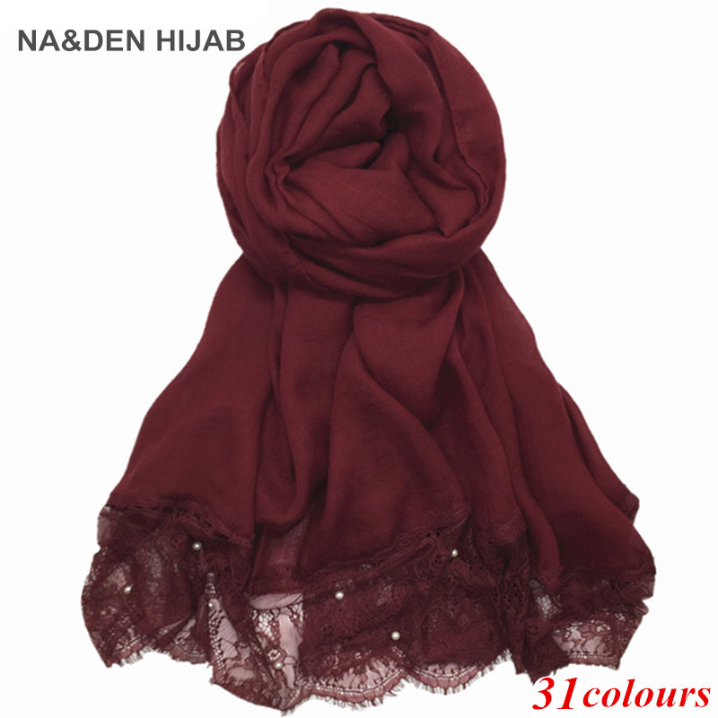Women Luxury 2 Sides Lace Edges Pearls Plain Solid Scarves Hijabs Shawl Viscose Muslim Beads Scarf Eid Gifts 2pc/lot 38 Colors