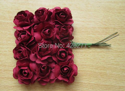 Free shipping 144pcslot dark red mulberry paper flower bouquetwire free shipping 144pcslot dark red mulberry paper flower bouquetwire stem scrapbooking mightylinksfo