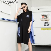 2019 Summer New Pattern Pullover Printing Pullover Round Neck T Shirt Dress For Women Personality tshirt Loose Vent Hem AS163
