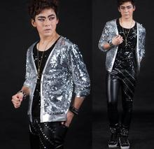 Silver Singer blazers Personalized sequins stage rock blazer men suit fashion suits for men blazer jacket masculino Customizable