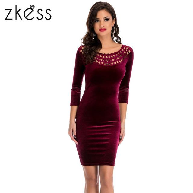 Zkess bainha velvet dress mulheres sexy o pescoço vinho tinto primavera festa three quarter sleeve elegante lápis bodycon ladies dress 22925