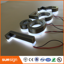 3D Brushed Stainless steel LED illuminated Channel letters sign