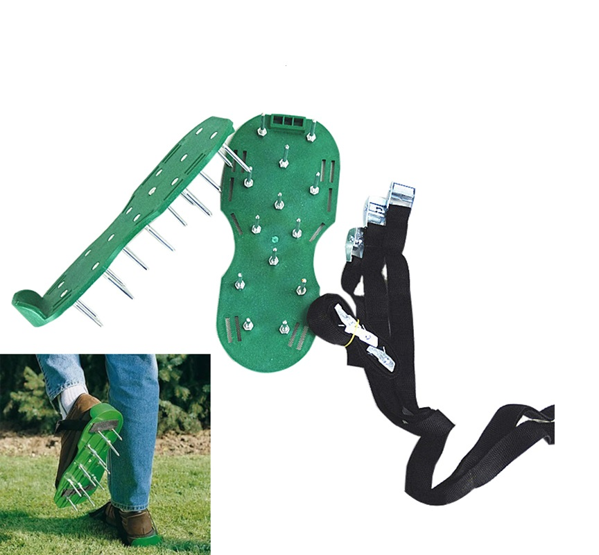 High Quality  Green Lawn Aeration Sandals Garden tool & Metal Button Fun Creative and practical Garden Tools  spikes Shoes ручка daily fun разные дизайны quad ruled green