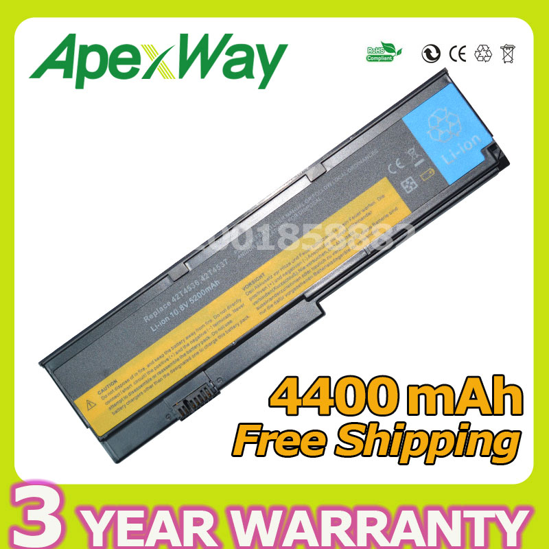Apexway 4400mAh laptop battery For Lenovo ASM 42T4537 FRU 42T4536 FRU 42T4538 for ThinkPad X200 X200s X201 X201-3323 X201i X201s genuine new 44c9990 fru 44c9991 60 48q14 001 for lenovo thinkpad x200 x201 x201i led flex video cable