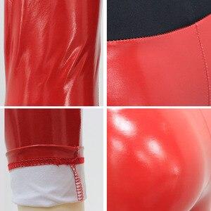 Image 5 - Kadın parlak tayt islak bak PU deri tozluk siyah kırmızı ince yüksek bel dar pantolon