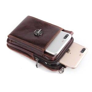 Image 5 - حقيبة خصر من الجلد الأصلي لهواتف آيفون/وسامسونج/سوني/إل جي حقيبة كتف ذكية مزودة بحزام لحمل الهواتف المحمولة دون 6.5 بوصة