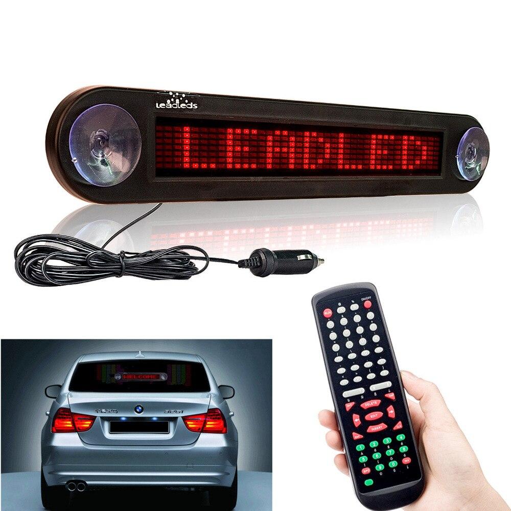 12V 30cm rouge voiture Led signe à distance Programmable défilement publicité Message miroir panneau d'affichage voiture fenêtre arrière signes mobiles