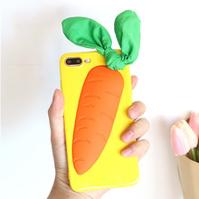 Фотография Tmalltide 3D Carrot Phone Case for Iphone 7 7plus Capa Cute Silicone Soft Back Cover for Iphone 6 6s Plus Phone Bags Coque Shell