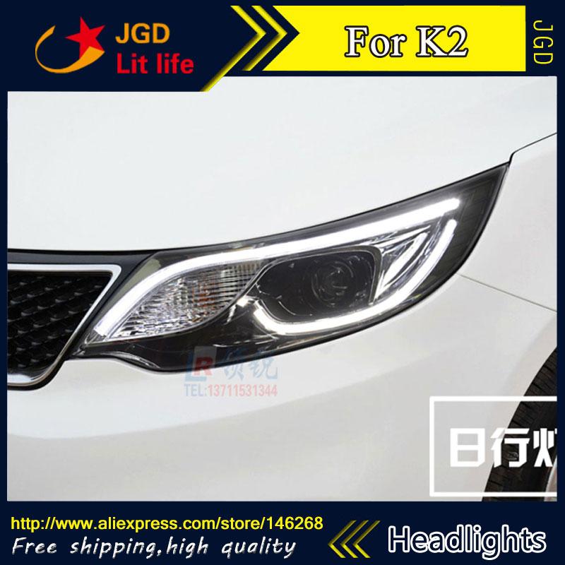 Free shipping ! Car styling LED HID Rio LED headlights Head Lamp case for KIA K2 2015 2016 Bi-Xenon Lens low beam