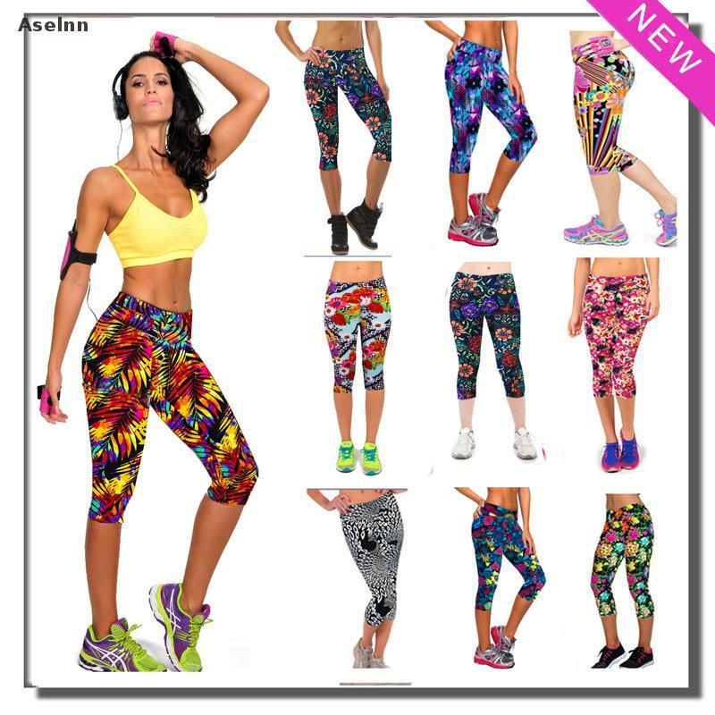 Aselnn Brand New Capri Women Leggings Pantaloni a vita alta con - Abbigliamento donna - Fotografia 2
