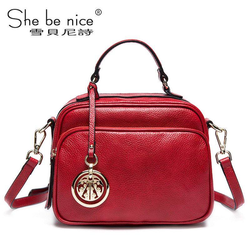 Snow Beni poem box-type leather handbag handbag Messenger shoulder bag 2016 new winter leather messenger bag Messenger
