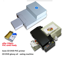 1 set CD/DVD printer + 1 set CD/DVD glossy oil coating machine for Epson L800 high speed and quality Auto CD/DVD/PVC printer