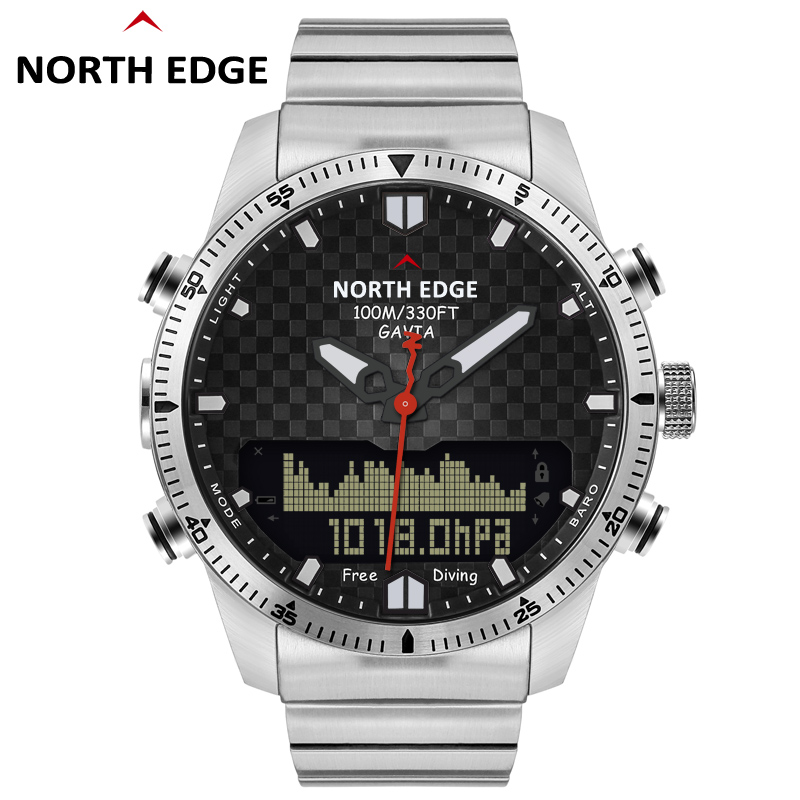 Hommes plongée sport montre numérique hommes montres militaire armée de luxe plein acier affaires étanche 100 m altimètre boussole bord nord