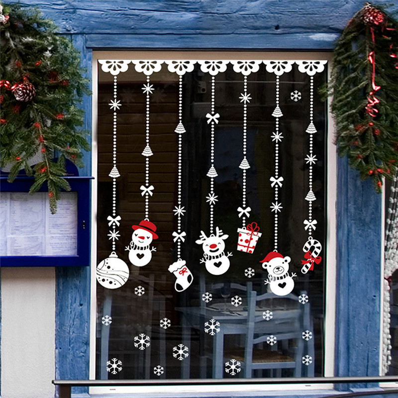 aliexpresscom buy clasic hanging snowman gift christmas window sticker pvc xmas home wall back ground sticking stickers drop ship sale from reliable - Christmas Window Stickers