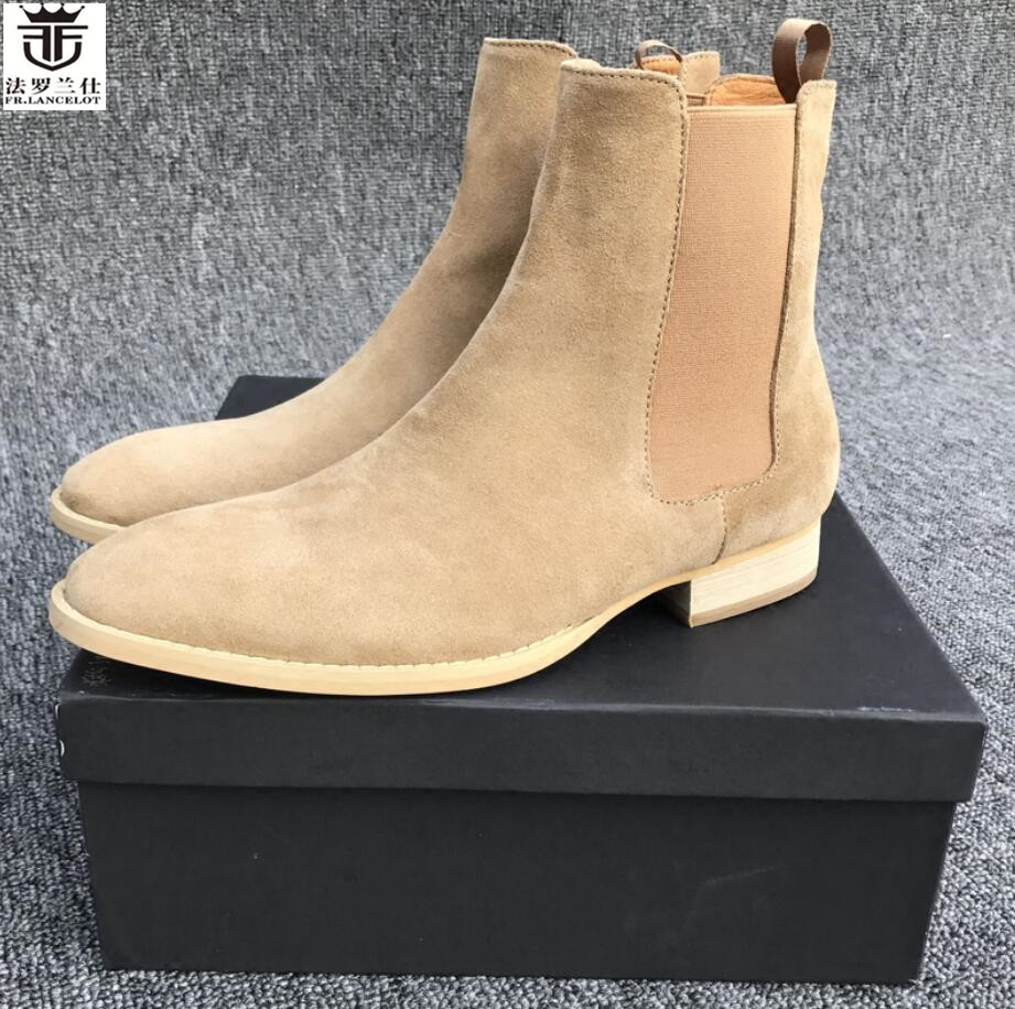 FR.LANCELOT 2020 ON SALE New Men's Boots Pointed Toe Suede Leather Chelsea Boots Slip On Men's Boots Rubber Sole Booties