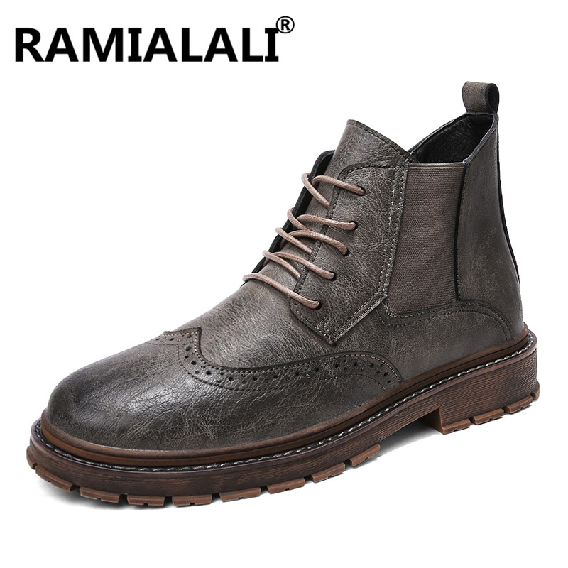Style Top gris Bottes marron Chaussures Cuir Imperméable Martin Hiver Véritable Hommes De Cheville Travail Noir En Vintage High Homme Nouveau wH4f7Yqn