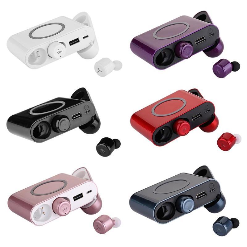 Alloyseed Mini écouteur sans fil TWS Bluetooth HiFi écouteurs intra-auriculaires écouteurs avec boîtier de charge micro pour téléphones