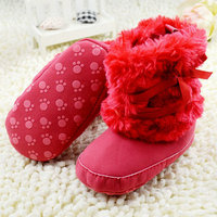 0-18M Baby Girls Ribbon Bowknot Snow Boots Crib Shoes Toddler Warm Fleece Boots