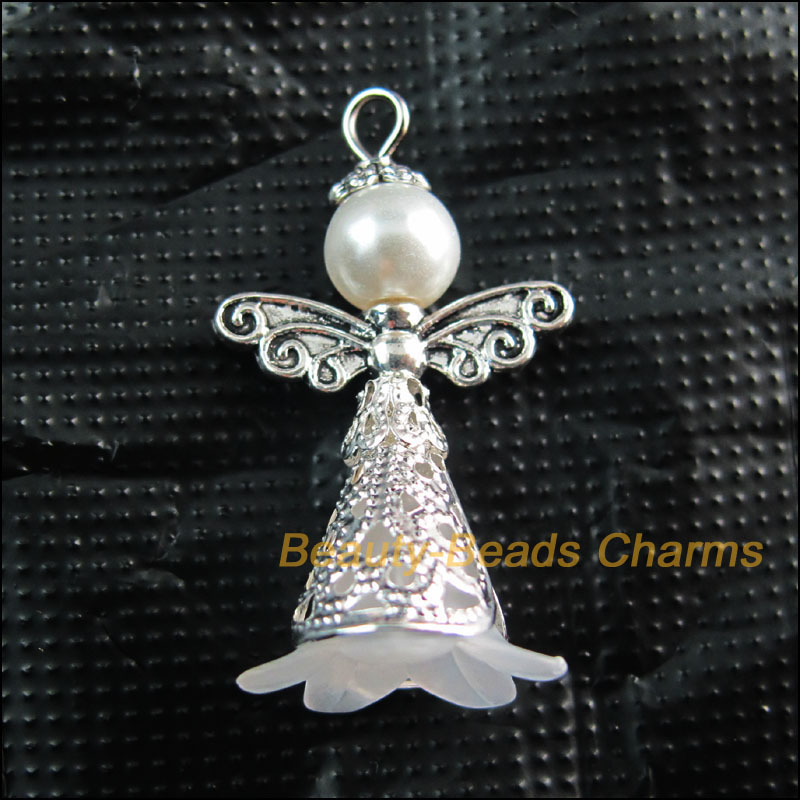 Solid Silver 925 Open Angel Pendant Charm For Charms Bracelet or Necklace A25P